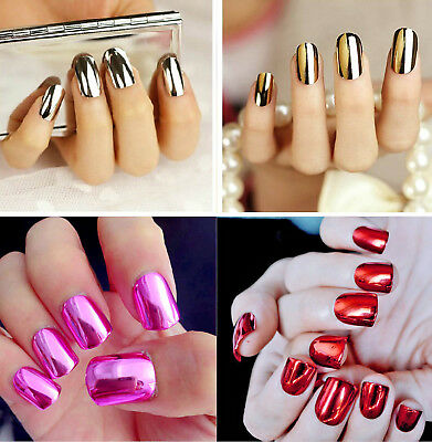 New Set 24 False Nails, Metallic Gold, Silver, Red, Pink, Full Nails, Nail Art