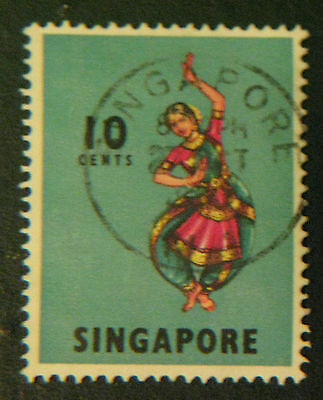 Singapore Stamp 1968 sc#88 10c Indian Dance Bharatha Natyam Used