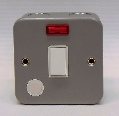 20A DP Double Pole 250V SuperSwitch Electrical Switch Neon Flex Metal Clad Grey
