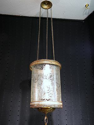VICTORIAN ANTIQUE Scenic Acid Etched GLASS HANGING HALL OIL LAMP CHANDELIER