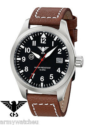 Pilot Watches German Airleader Steel Buffalo Date C1-Light Analog Easy To Read