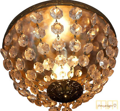 Antique French Ceiling Lamp  Basket Chandelier Flush Mount Crystal Vintage
