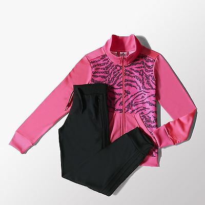 adidas girls neon pink zip up tracksuit. Jogging suit. Warm up suit. Age 4-5Y