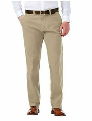 Haggar Men's Sustainable Flat Front Stretch Straight Fit Chino Pants Khaki 32X30