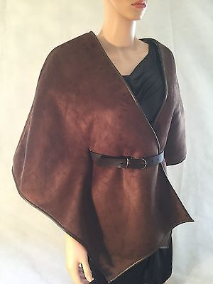 River Island Faux Suede Belted Cape / Jacket, brown S-M 8 10 12 RRP £60 New