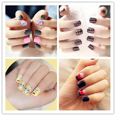 24PCS Package Girls Cute False Nail Tips French Manicure Fake Fingernails SS