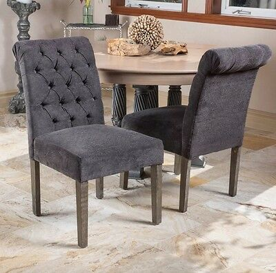 Set of 2 Roll Back Tufted Dining Chairs Chairs with Button Accents Gray