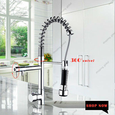 US Roated Kitchen Pull Out Spray Dual Spout Chrome Faucet Sink Basin Mixer Tap