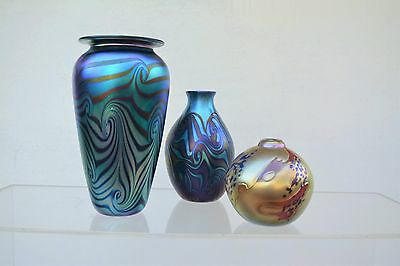 LARGE!!! SIGNED Robert Eickholt Studio vase.USA art-glass.Iridescent. Heaney era