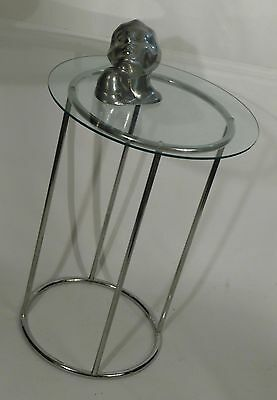 Milo Baughman MCM VIntage Chrome and Glass Sculpture Display Stand Table 1970s