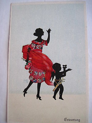 Art Deco Vintage Postcard w/ Silhouette of Woman In Red Dress by Marte Graf *