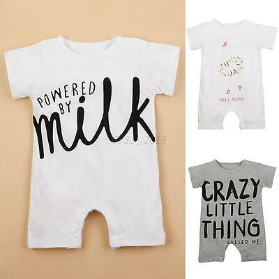 Kids Baby Boys Girls Short Sleeve Romper Jumpsuit Bodysuit Outfits 0-12M