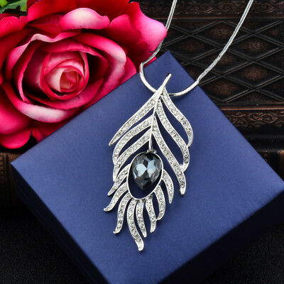 Gray Glass Hollow Feather Pendant Long Necklace Women Black/White Chain My421