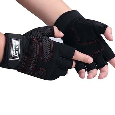 1Pair Weight Lifting Gloves Workout Wrist Wrap Sports Exercise Training Fitness