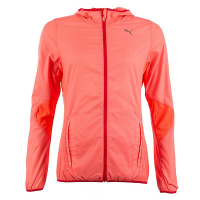 Puma Lightweight Woven Zip Up Hooded Womens Running Fitness Jacket Pink