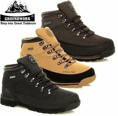 Ladies Women Groundwork Leather Steel Toe Cap Safety Work Boots Shoes Trainers