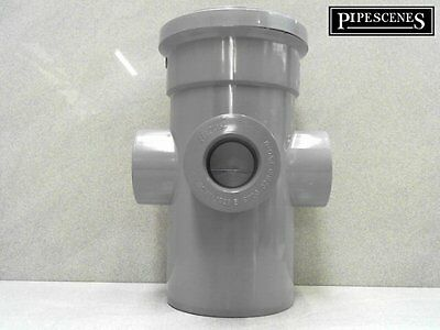 """110mm 4"""" Long Boss Pipe 32mm 36mm SOLVENT GLUED Waste Pipe Adaptor GREY"""