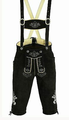 Traditional Costume Leather Pants Men's Trousers Strap Embroidery Black Gr46-62