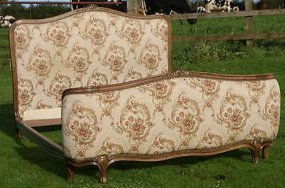 PRETTY EARLY / MID 20th CENTURY   FRENCH UPHOLSTERED DOUBLE BED • £295.00