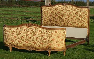 PRETTY EARLY / MID 20th CENTURY   FRENCH UPHOLSTERED DOUBLE BED