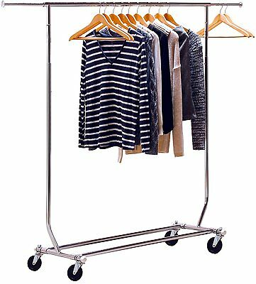 Chrome Heavy Duty Commercial Grade Clothing Garment Rolling Collapsible Rack