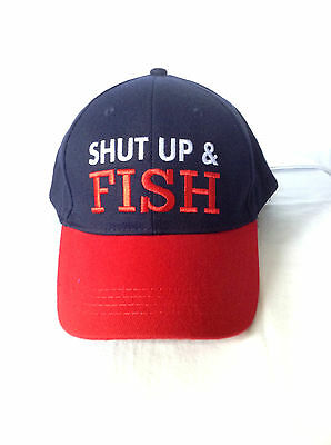 Funny Adult & Teen Fishing Cap: Shut Up and Fish, 100% cotton, One Size Fits All