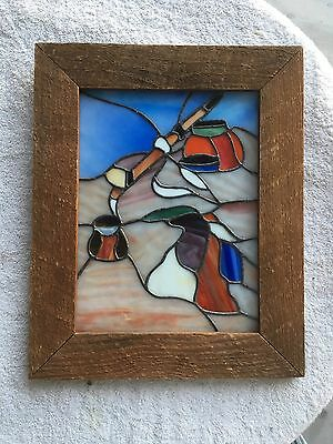 Wood Framed Stained Glass Suncatcher Window Panel Display