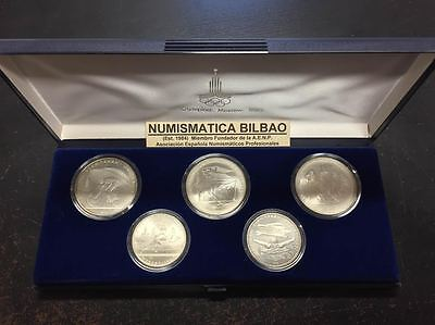 RUSSIA 5+10 RUBLOS 1978 MOSCU 1980 5 SILVER COIN SET USSR Rusland Rubel Roubles