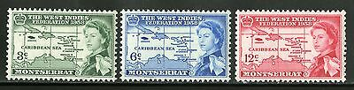 Montserrat   1958   Scott # 143-145   Mint Never Hinged Set