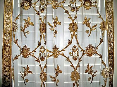 French Country Nia Embroidered Velvet Fabric Sheer Drapes Brown Gold 1 Panel