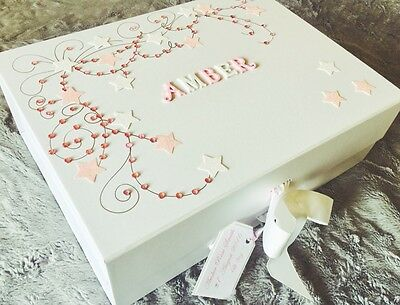 Large Luxury New Baby Girl's Personalised Keepsake/Memory Box Gift