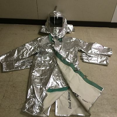 Heat-Reflective Aluminized Coat,Gloves,and Hood with Face Shield. Rayon Clothing