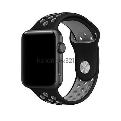 Black/Cool Gray Replacement Silicone Sport Band For Apple Watch 42 Series 2 /1