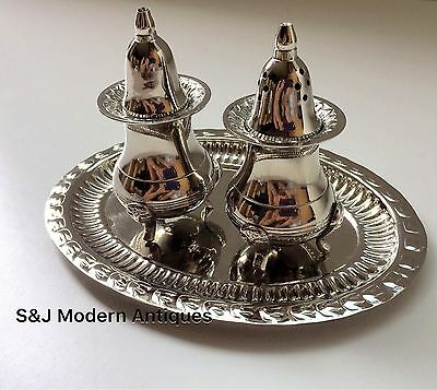 Antique Vintage Cruet Set Silver Plated EPNS Retro Art Deco on Tray Novelty Old