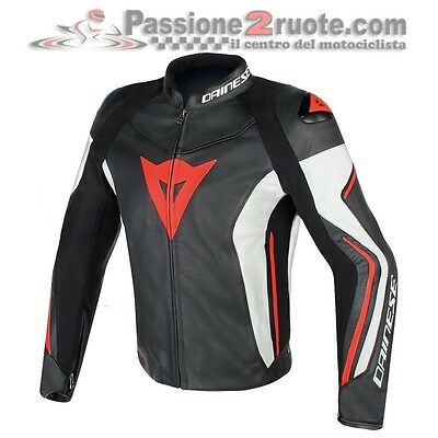 Giacca moto in pelle Dainese Assen nero bianco rosso