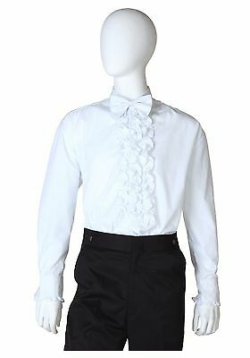 NEW Halloween Mens White Ruffled Tuxedo Shirt Vintage 70's All Size Tuxedo Disco