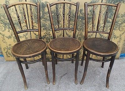 Antique Vintage Mundus Cafe Bistro Kitchen Bentwood Chairs C 1920s - 3 Available