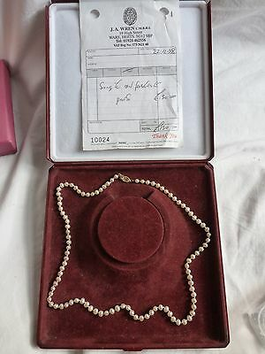 Single Strand Freshwater pearls ,solid gold 9ct gold clasp & original receipt