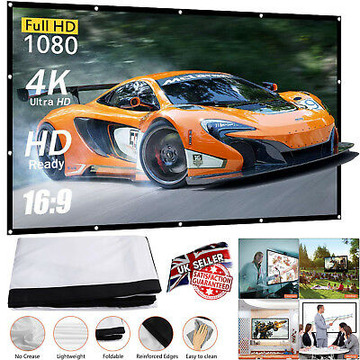 """100"""" Inch Projector Projection Screen16:9 White Matte 3D HD Home Cinema Theater"""