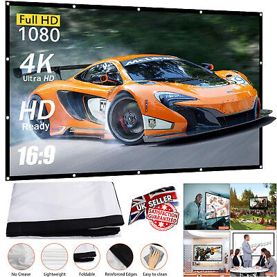 """100"""" Portable Fully 3D HD Projector Screen 16:9 Matte Home Cinema Movie Theater"""