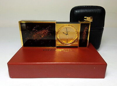 S.t. Dupont Travel Alarm Clock Goldtone & Lacquer Finish W/ Leather Case & Box