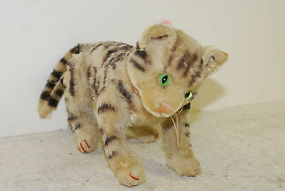 steiff stripped tiger cat stuffed toy, button, legs and head jointed,1950's Ex