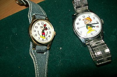 LOT OF 2 RETRO 70s watches watch MICKEY MOUSE KEEBLER ELF
