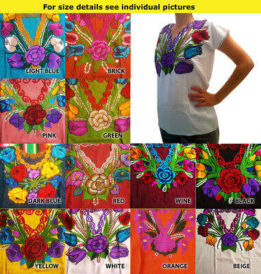 Authentic hand made embroidered ladies ethnic blouse Chiapas Mexico #5