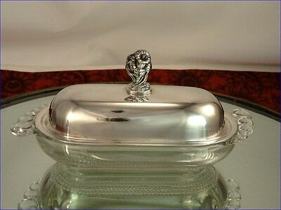 Rare DAFFODIL Glass Butter Dish 1847 Rogers Bros Vintage Silverplate