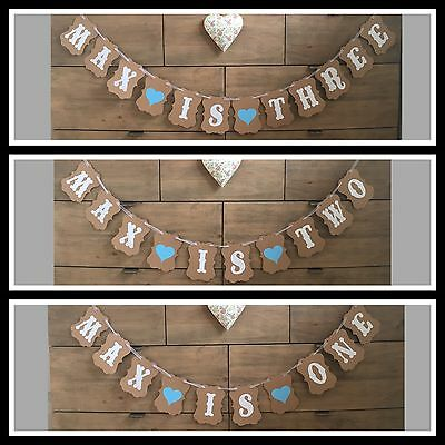 Personalised Birthday Party Bunting Decoration Boy Girl Banner First 1st 2nd