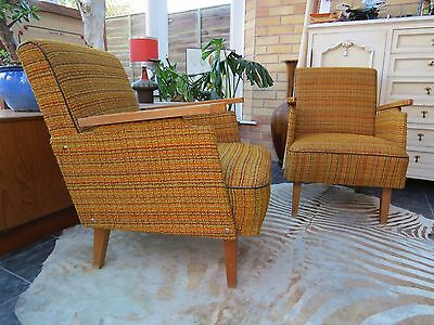 Amazing Pair Of Vintage East German Lounge Arm Chairs C1960 Original Condition
