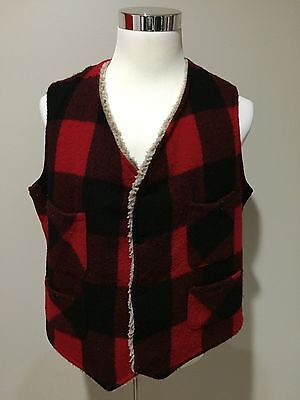 Rare Vintage 1970's Woolrich Wool Made In USA Plaid Hunting Sporting Vest Sz L