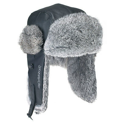 Ski-Doo MENS Vintage Rabbit Fur Hat (BLACK) 4458970090~NEW
