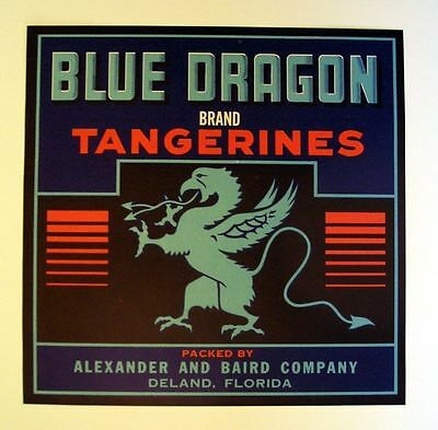 1950s Blue Dragon Tangerine Fruit Crate Label